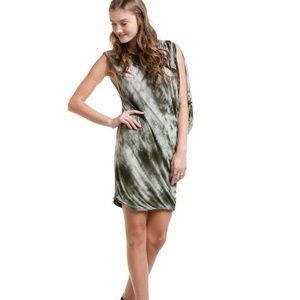 YFB Tie-dye Olive Green Asymmetrical Drapey Dress